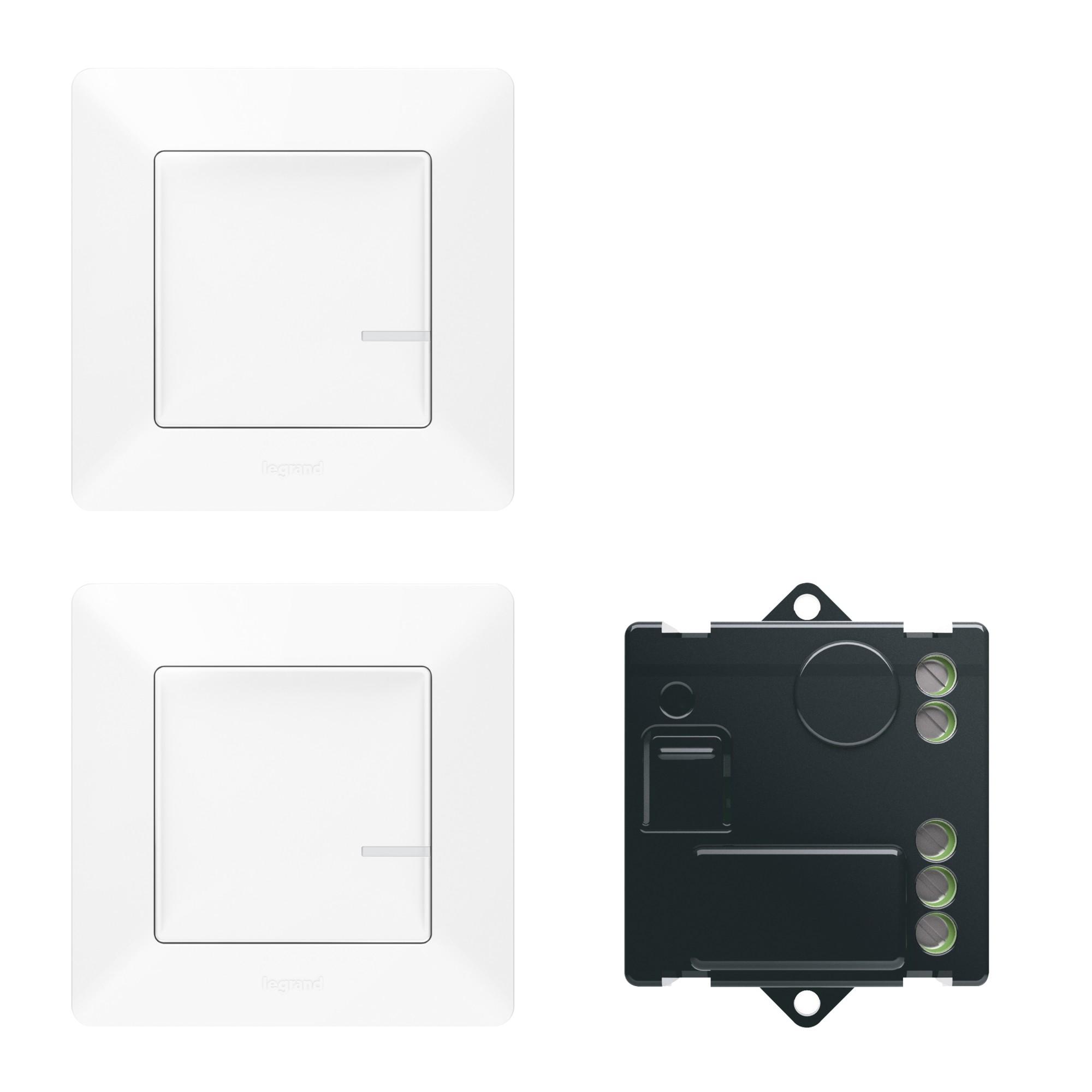 Пакет для управления освещением c 2х мест.  Микромодуль реле 300 Вт 240В + два умных беспроводных 1-клавишных выключателя. Цвет Белый Legrand Valena Life with NETATMO 752150