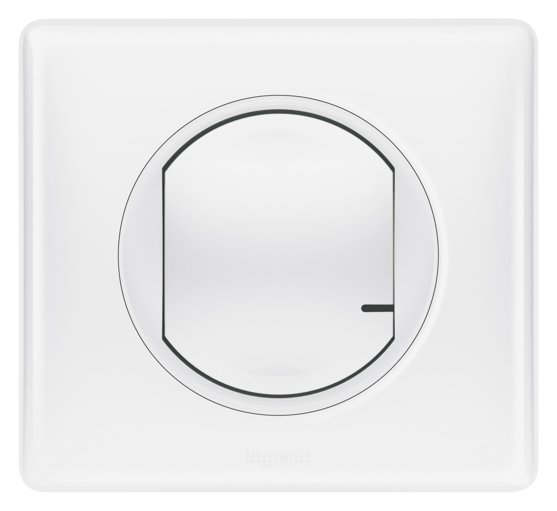 Умный проводной выключатель с опцией светорегулирования 5-300 Вт 230В. Цвет Белый. Рамка Белый глянец. Legrand Celiane with NETATMO 067721